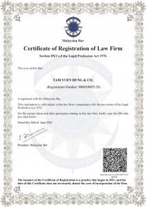 Tam Yuen Hung & Co. Certificate of Registration of Law Firm In Malaysia Best and Professional Divorce and Family Law Firm In KL Selangor Malaysia